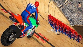 GTA 5 Spiderman Motorcycle Fails/Ragdolls (Euphoria Physics, Crashes, Funny Moments)