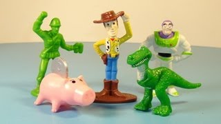 1995 DISNEY'S TOY STORY GENERAL MILLS CEREAL SET OF 5 MINI FIGURINES VIDEO REVIEW