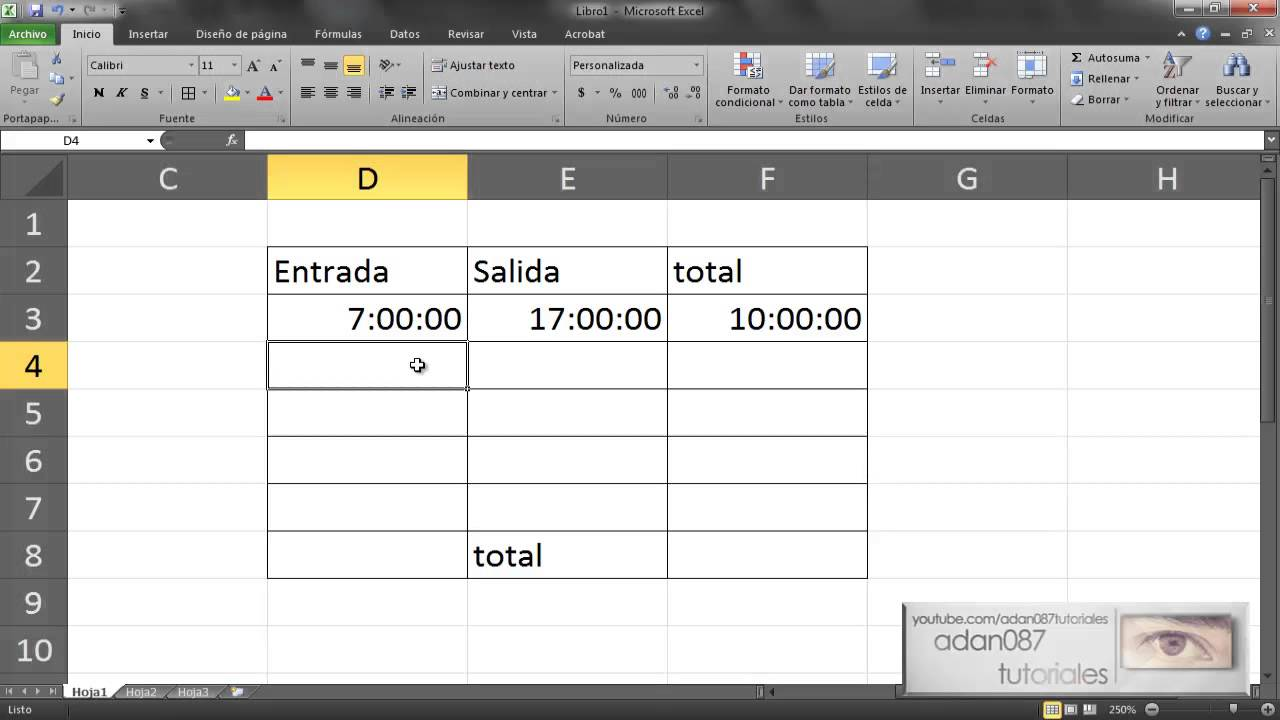 Excel suma y resta de horas - YouTube