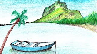 How to Draw a Boat in Water Scenery - Step by Step