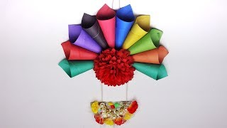 Paper Flower Wall Hanging | Diy Wall Hanging | Wall Decoration With Paper Craft | Popular Craft