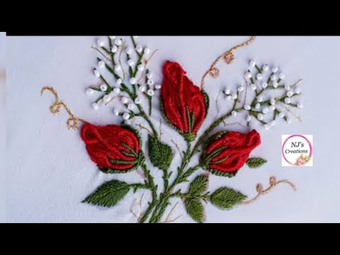 67- Hand embroidery rose buds| Brazilian embroidery|No sound