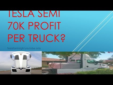 Tesla 2170 semi truck JB Straubel four Model S,  profit per truck 70,000? stock to 3000