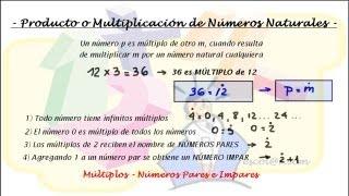 Múltiplos - Números Pares e Impares - Producto o Multiplicación de Números Naturales