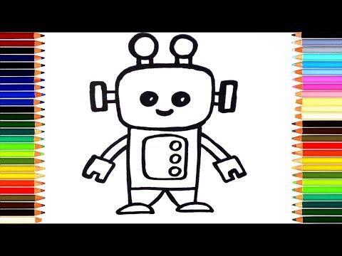 Как нарисовать робота/ мультик раскраска робот для детей / учим цвета