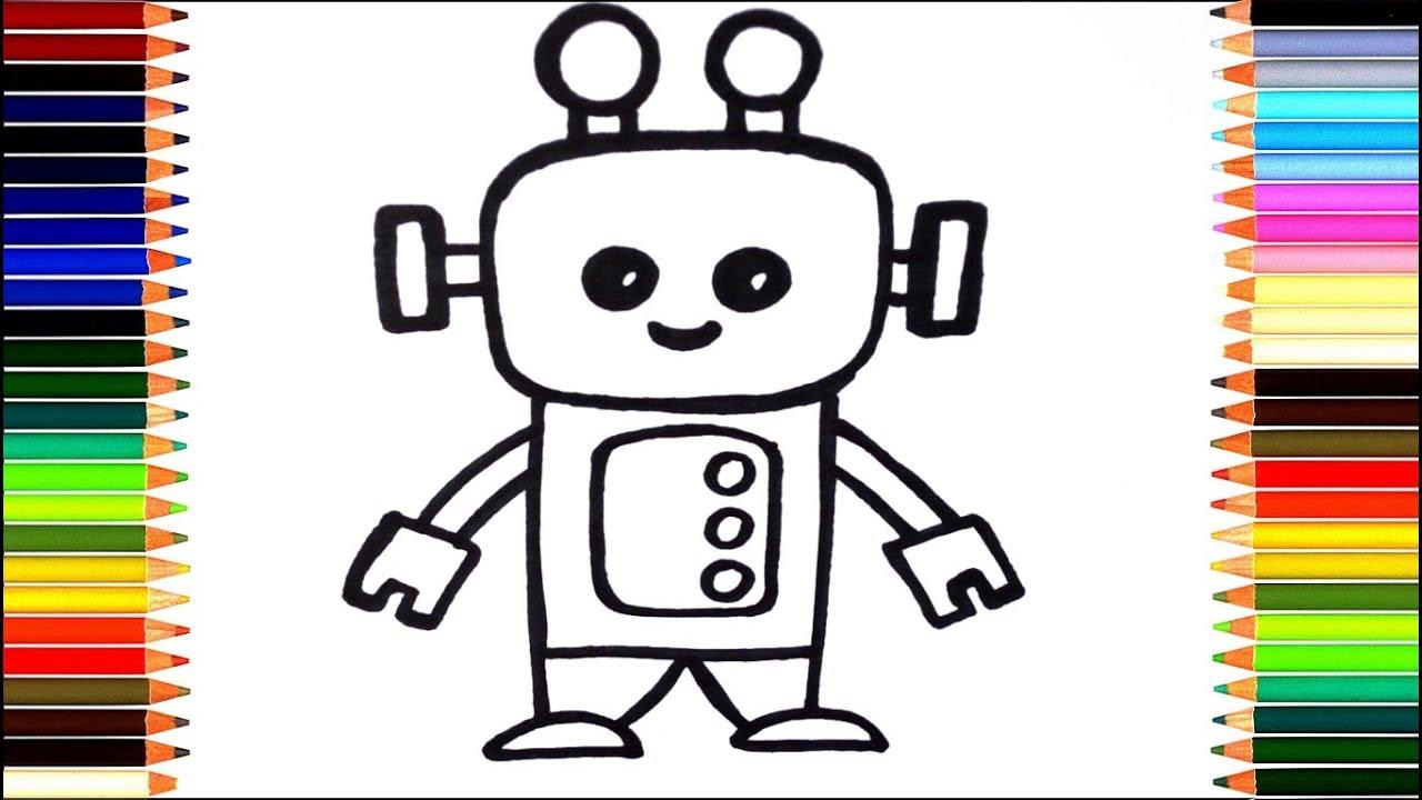 Как нарисовать робота/ мультик раскраска робот для детей ...