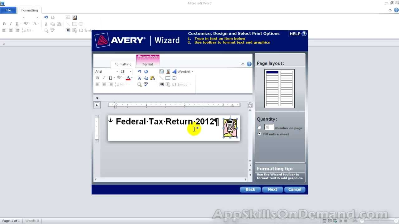 Avery Wizard Lesson 9 - Design, save and print Avery file folder ...