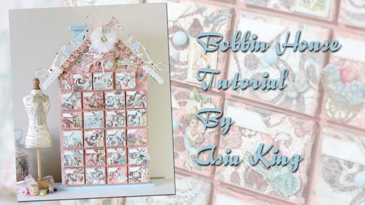 Handmade Calendar Tutorial : Bobbin house sewing storage altered advent calendar