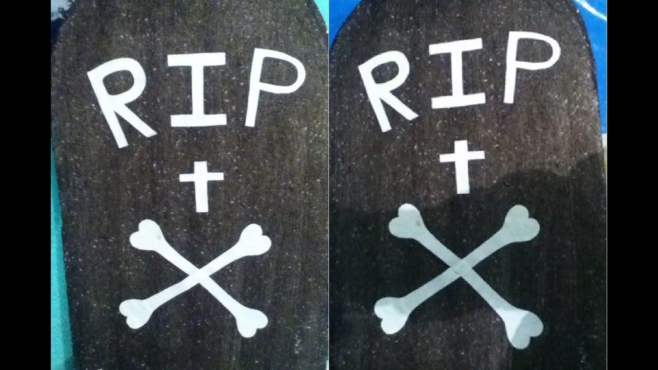 Tutorial como hacer una tumba de unicel para halloween how to make tombstones for halloween - Como decorar una lapida ...