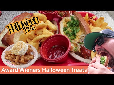 Halloween Treats at Award Wieners, Oktoberfest Dog & Pumpkin Spice Funnel Cake Fries