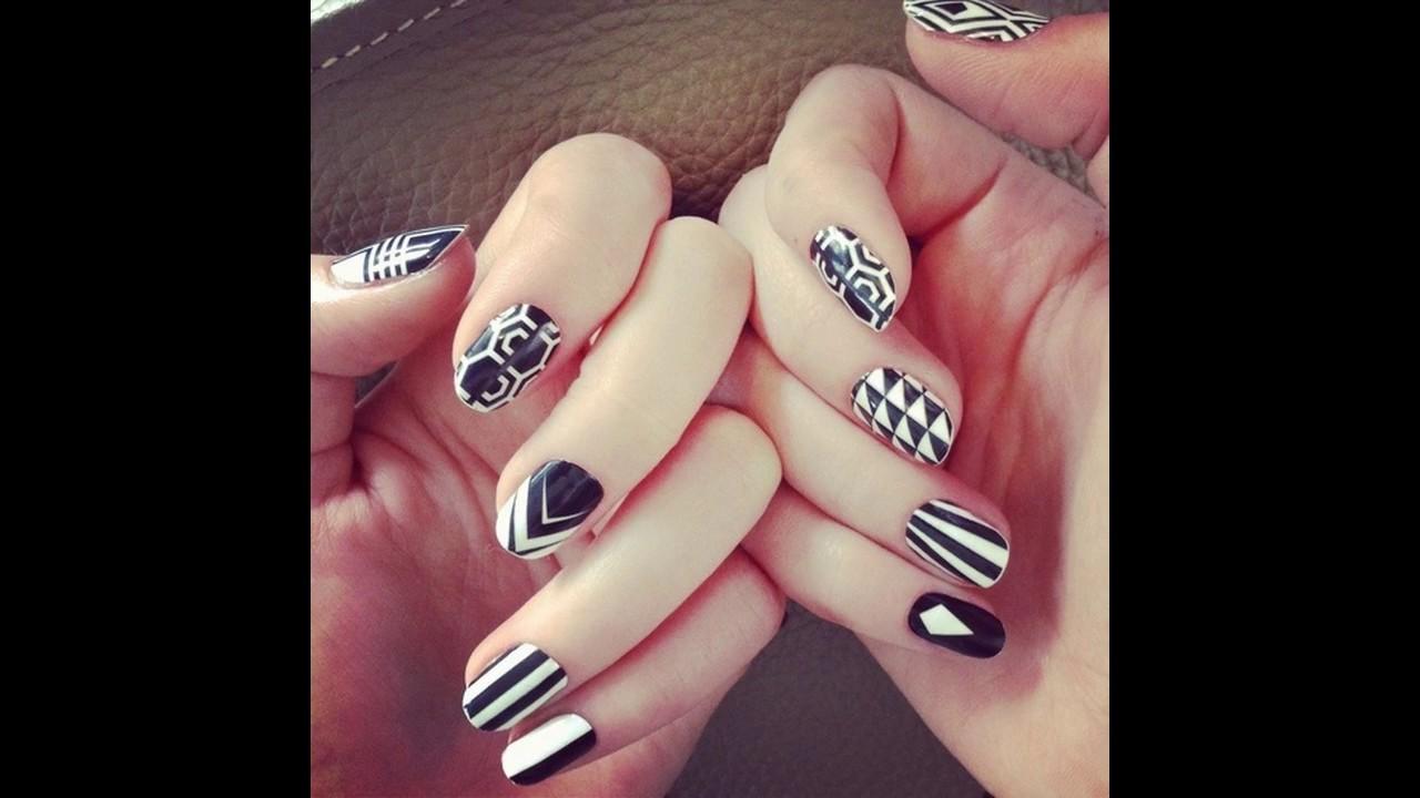 Diseño de uñas decoradas blancas sencillas y elegantes - YouTube