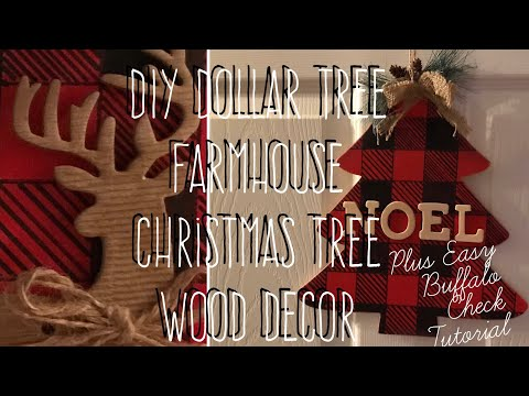 DIY Dollar Tree Farmhouse Wood Christmas Tree Deco Plus Buffalo Check Tutorial