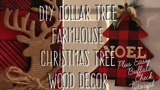 DIY Dollar Tree Farmhouse Wood Christmas Tree Deco Plus Buffalo Check Tutorial