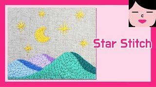 스타 스티치 프랑스자수 밤 풍경 star stitch hand embroidery Night Landscape With Stars Over Mountain