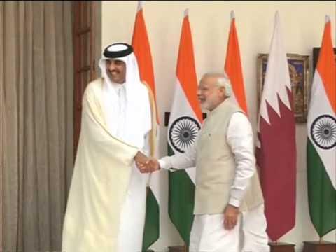 Qatar Emir Al-Thani meets Indian PM Modi