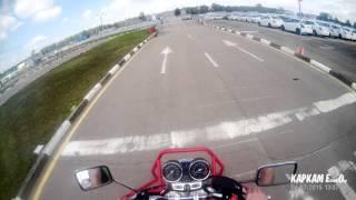 Обучение на мотоцикле Хонда 400 SF. Автоматизированный автодром УЦ БАЗИС