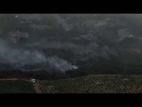 Raw Video: Tuesday Morning Aerials Of Eden Fire Above Saratoga