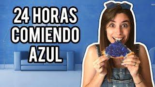 24 HORAS COMIENDO EN UN MUNDO AZUL | Lyna Vlogs