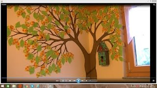 Как нарисовать дерево на стене в детскую комнату/декор стена(Украсьте вашу детскую креативным и ярким деревом. Листья на нем и скворечник из ткани, что позволит вам..., 2016-10-12T15:40:41.000Z)