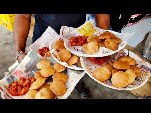 Spiciest Puri Bhaji Making | Lunchtime Rush for Aloo Puri | Indian Street Food