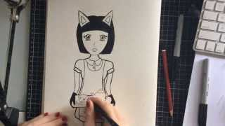 How to Draw Anime / Manga Inspired girl / waitress - Time Lapse