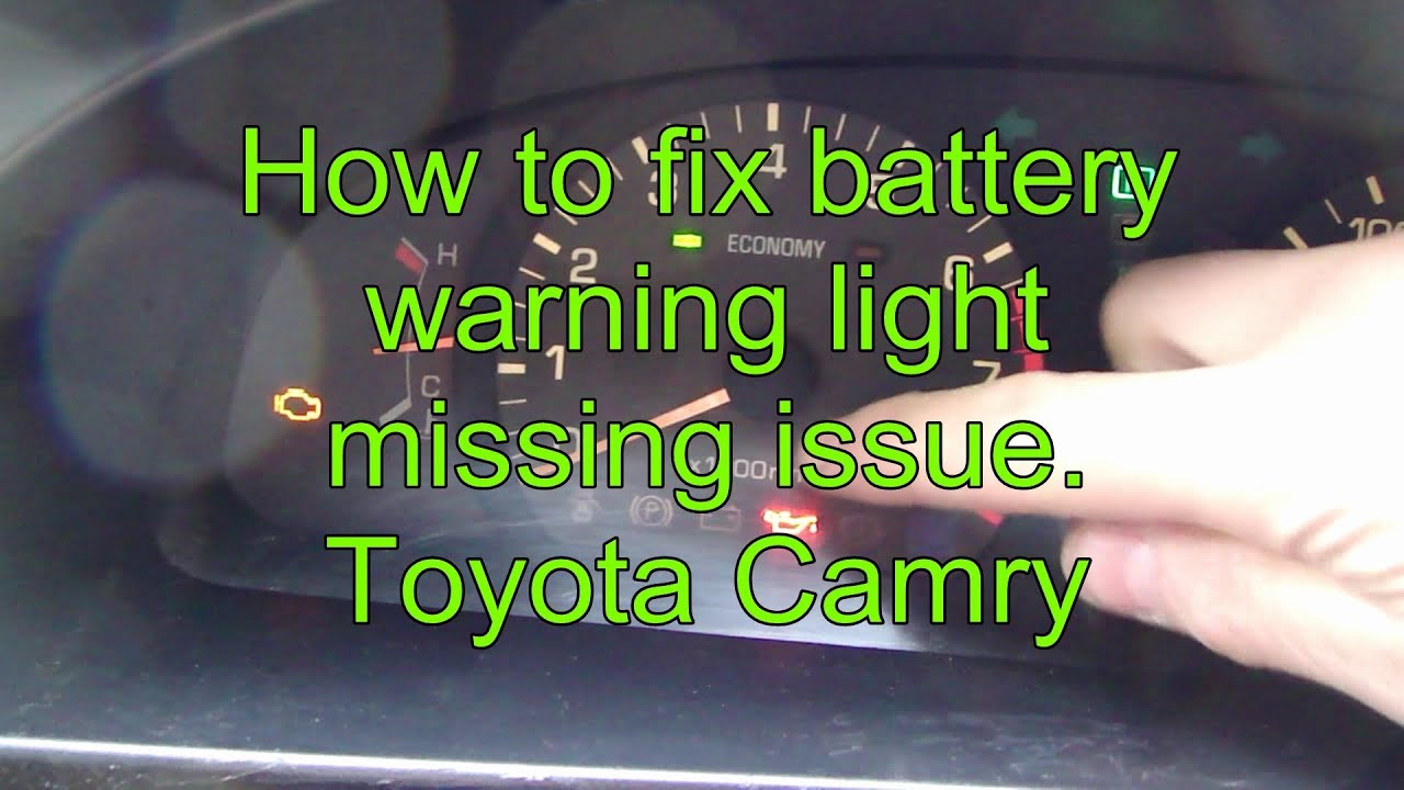 how to fix battery warning light missing issue toyota camry youtube
