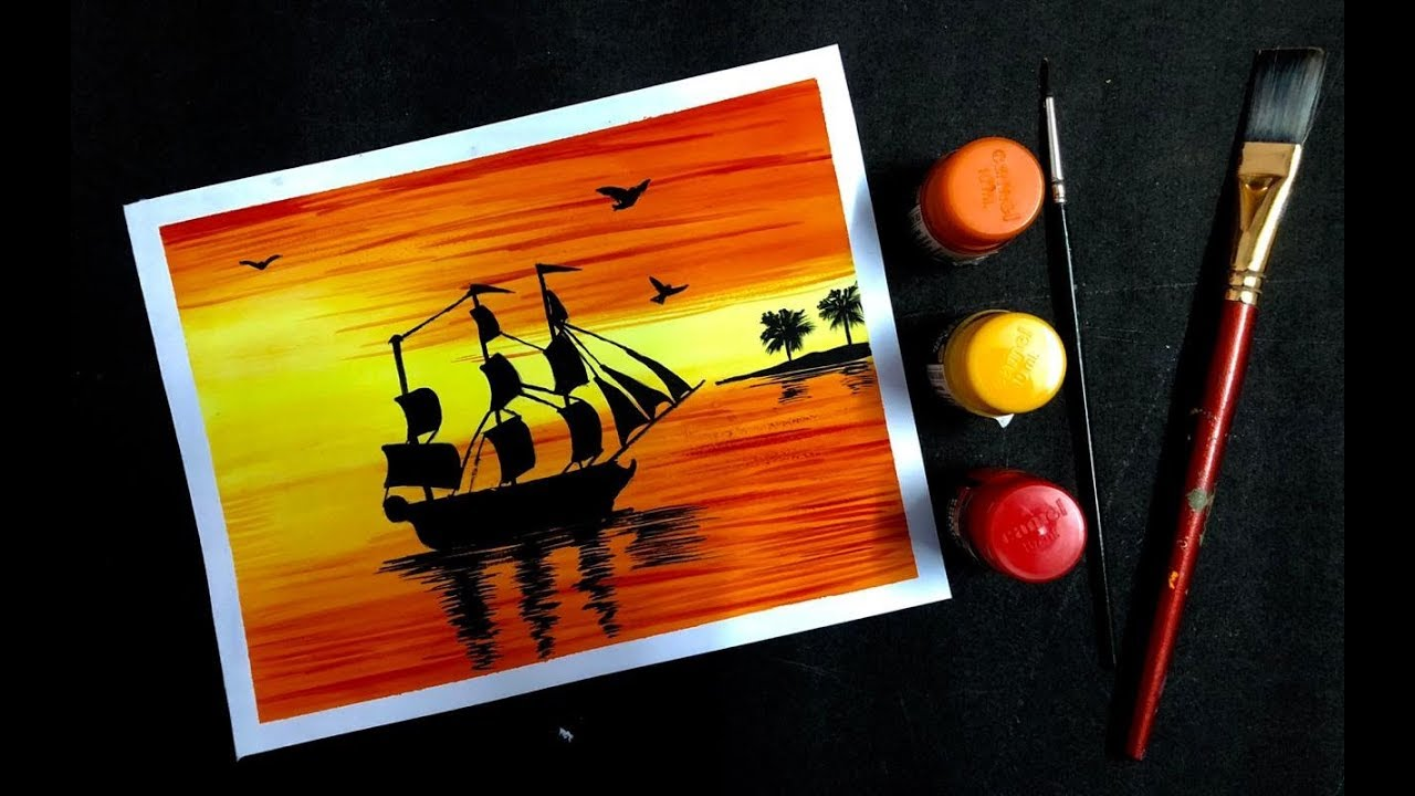 Painting A Beautiful Sunset Scenery Painting With Poster Colours Easy Poster Colour Painting Painting With Oil Paints