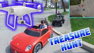 power wheels drone treasure hunt finds bmw i8 kids toy vehicle   dji phantom 4 drone treasure hunt