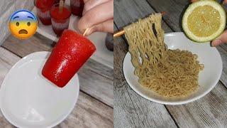 سويت طبخات المشتركين الغريبة 🤭😲! اندومي بالليمون الحامض  وحلى الاوريو