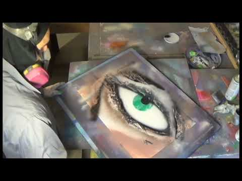 spray paint art-- green eyes giant long full length video