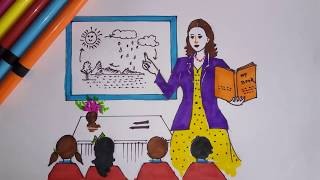 How to draw a teacher with classroom and students Teachers Day Drawing YouTube
