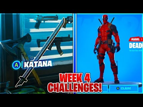 """Find Deadpools Katanas"" LOCATIONS and Damage to Structures in Fortnite Deadpool Challenges Week 4!"
