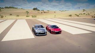 2017 Acura NSX vs 2017 Nissan GT-R Drag Race   Forza Horizon 3
