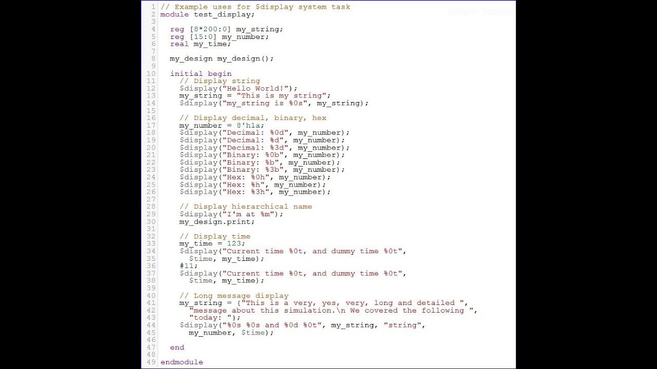 Verilog Tutorial 2 -- $display System Task