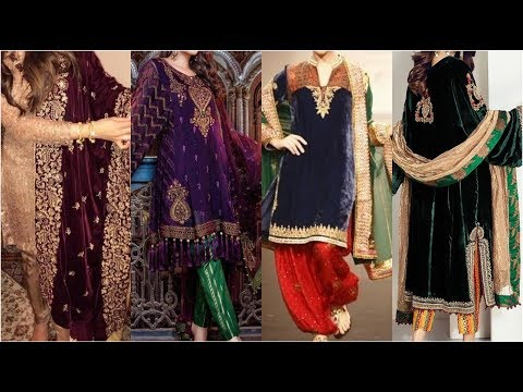 Very Latest & Beautiful Velvet Dresses Designing Ideas With Best Color Contrast