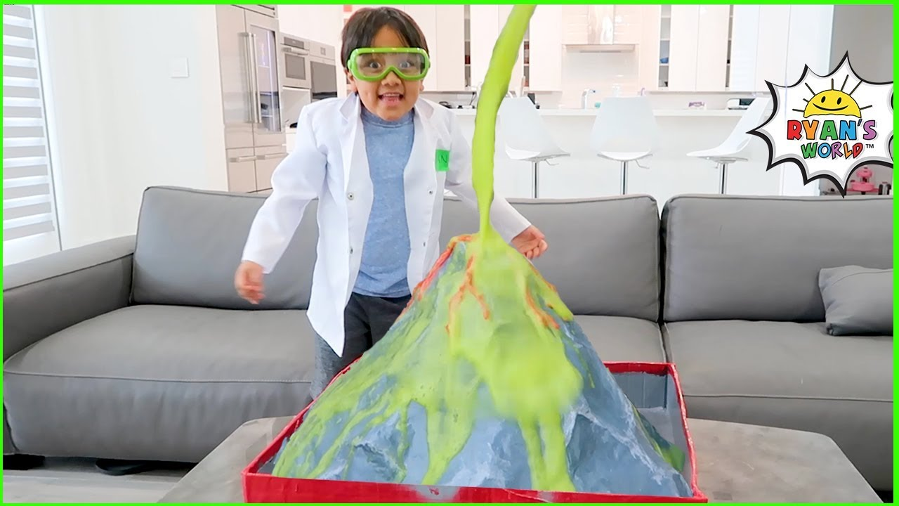 Ryan learns Easy DIY Science Experiment for Kids | How To Make a Homemade Volcano