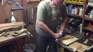Shaving a slice of Yosegi-Zaiku from a pattern block