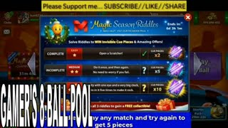 Get FREE Cue + Avatar Easy Trick In 8 ball pool Magic Season Riddles HD