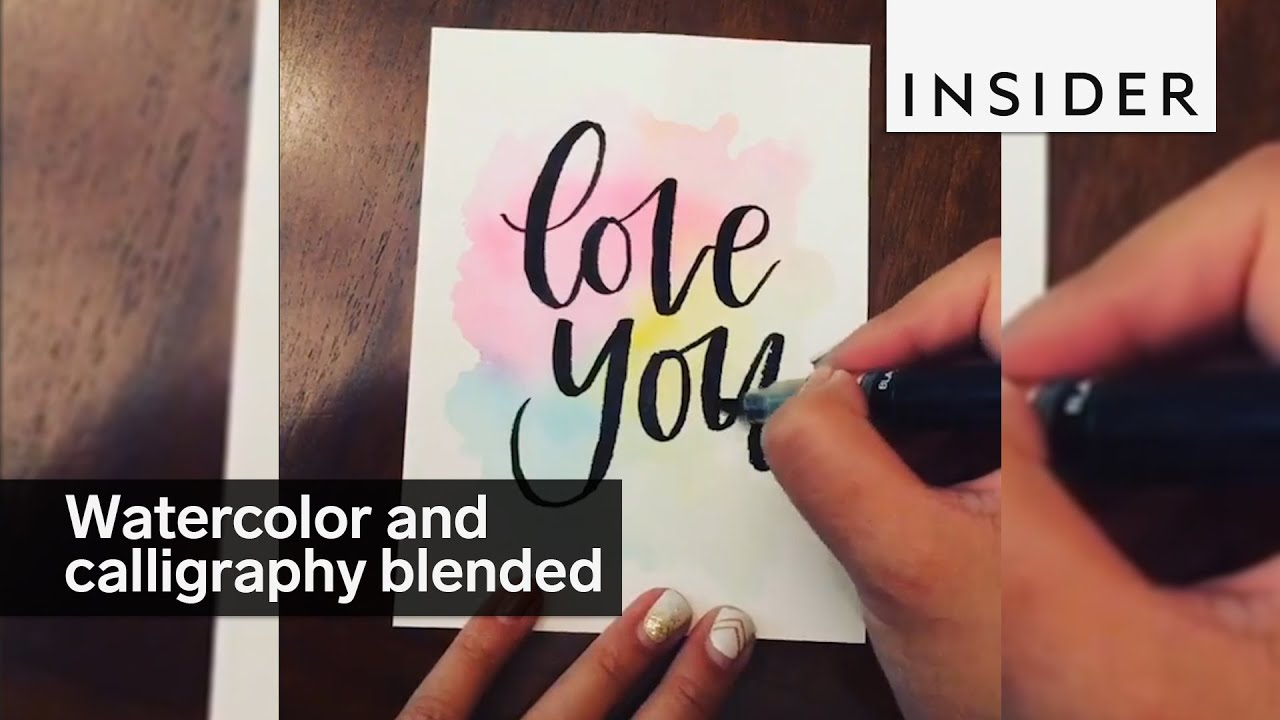 This woman blends together watercolors and calligraphy youtube