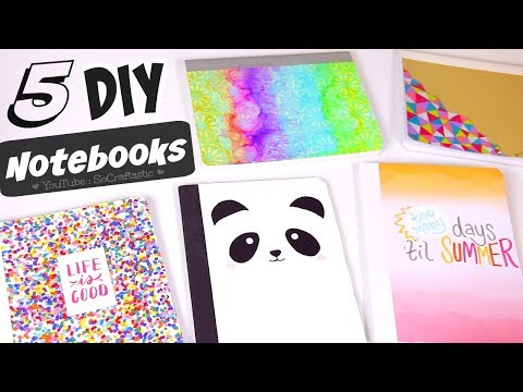 5 DIY NOTEBOOK IDEAS for Back-To-School 2017 // How To Make School Supplies // SoCraftastic
