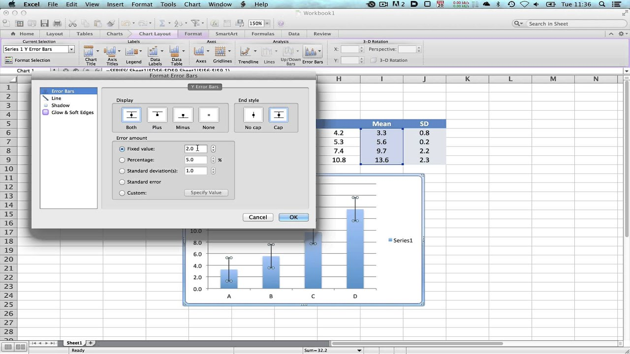 Error Bars In Graphs Using Microsoft Excel For Mac V2011 Youtube