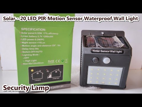 Solar - 20 LED PIR Motion Sensor Waterproof Security Lamp / Wall light / Free Energy