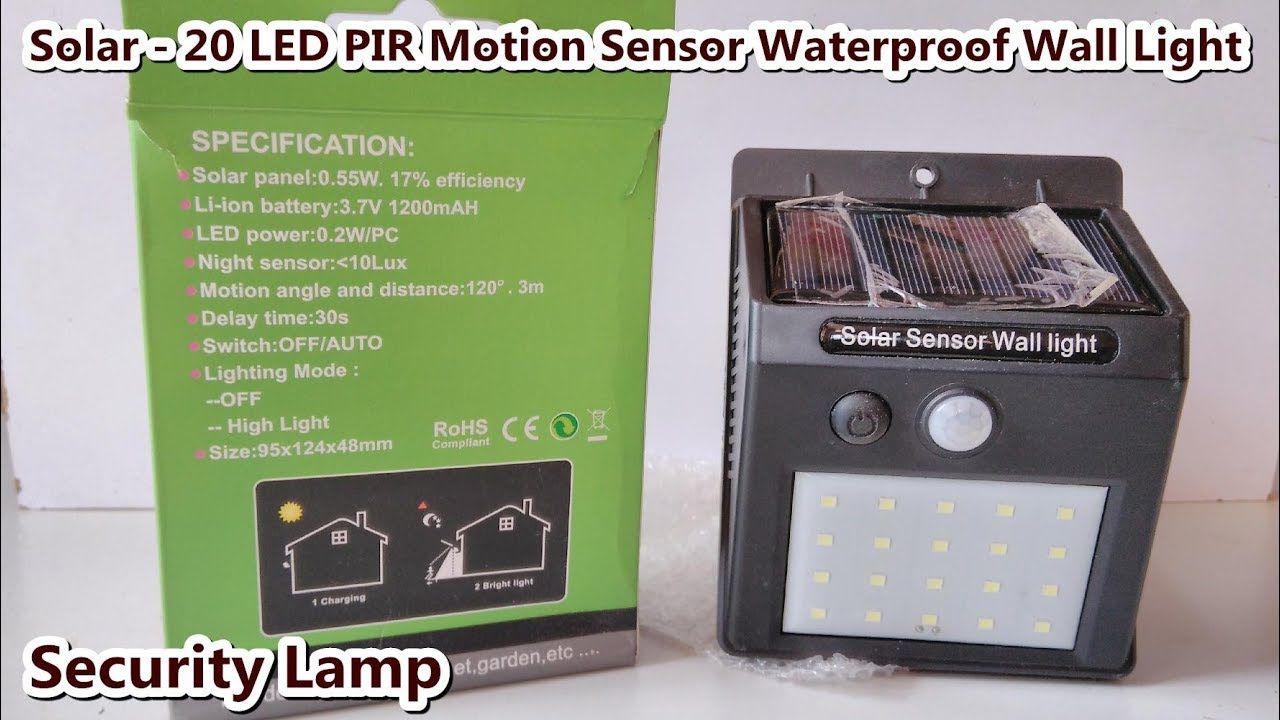 Solar 20 Led Pir Motion Sensor Waterproof Security Lamp Wall Light Free Energy