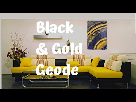 Black and Gold Resin Geode | Resin art | 8*13 size geode