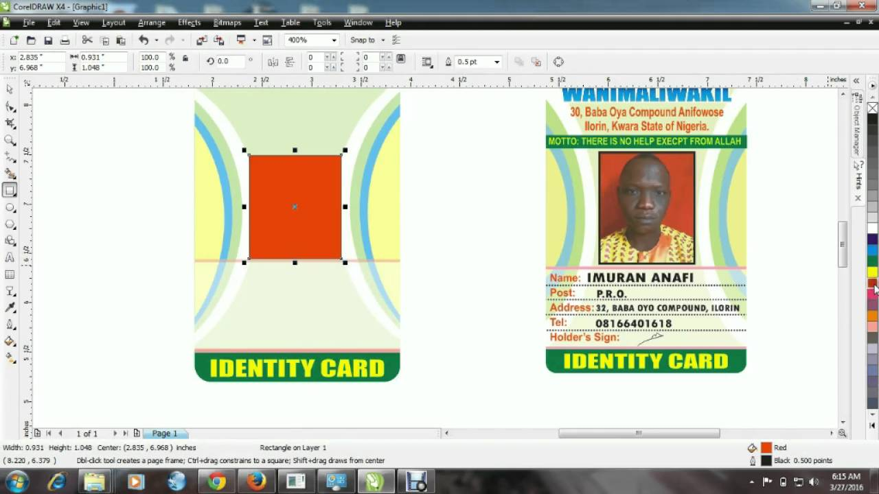 How To Design Idcard With Coreldraw Youtube