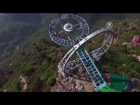 Стеклянный мост в Китае! Паника на мосту - YouTube
