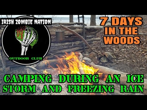 7 Days of Primitive Camping in an Ice Storm and Freezing Rain - Backpacking in Extreme Cold Weather