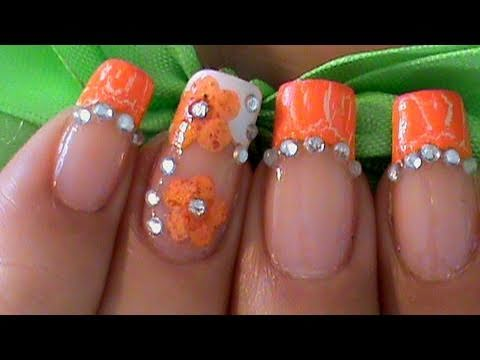 dry flowers orange nail art design