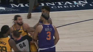 Suns and Jazz Get Into Big Team Fight After Ricky Rubio Gets Pushed Over! Utah Jazz vs Pheonix Suns!