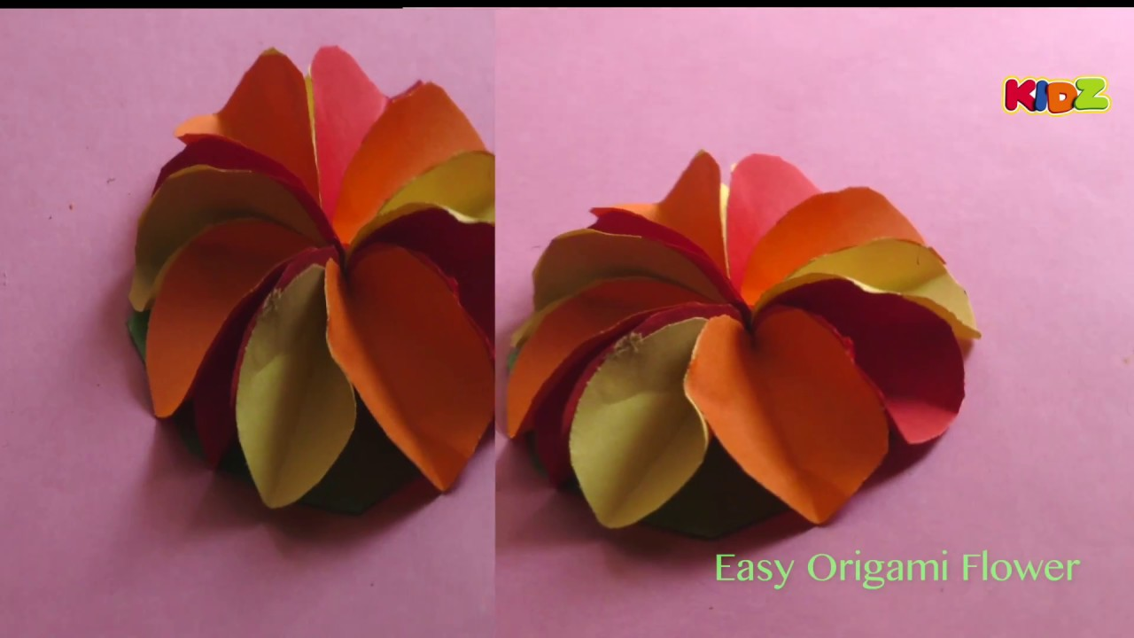 How To Make A Colourful Paper Flower Diy Simple Paper Craft